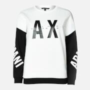 Armani Exchange Women's Colour Block Sleeve Logo Sweatshirt - Black/White