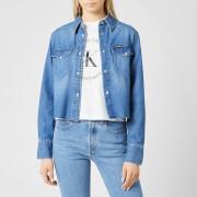 Calvin Klein Jeans Women's Cropped Modern Western Shirt - Mid Blue