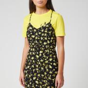 Calvin Klein Jeans Women's Floral Cross Back Slip Dress - Grungy Halftone Yellow Floral
