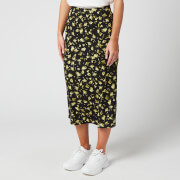 Calvin Klein Jeans Women's Floral Midi Skirt - Black Grungy Halftone Yellow Floral