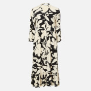 Calvin Klein Women's 3/4 Sleeve Button V-Neck Maxi Dress - Multi