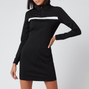Calvin Klein Jeans Women's Milano Mock Neck Zip Logo Dress - CK Black