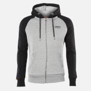 Superdry Men's Classic Raglan Zip Hoodie - Collective Dark Grey Grit