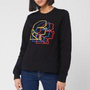 Karl Lagerfeld Women's Multicolour 3D Profile Sweatshirt - Black