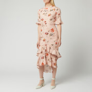 Hope & Ivy Women's Ruffle Midi Dress with Cut Out Back - Blush