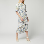 Hope & Ivy Women's Ruffle Midi Dress with Cut Out Back - Cream