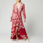 Hope & Ivy Women's Una Long Sleeve Maxi Wrap Dress - Red