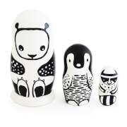 Wee Gallery Nesting Dolls - Black/White