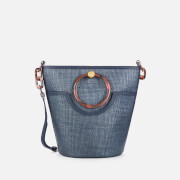 Ted Baker Women's Amayi Resin Handle Straw Bucket Bag - Navy