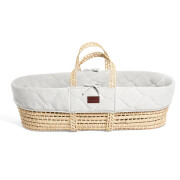 The Little Green Sheep Natural Quilted Moses Basket and Mattress - Dove