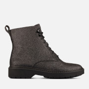 Clarks Women's Witcombe Hi 2 Glitter Leather Lace Up Boots - Black Glitter