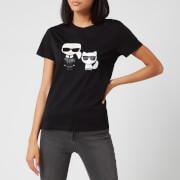 Karl Lagerfeld Women's Ikonic Karl & Choupette T-Shirt - Black