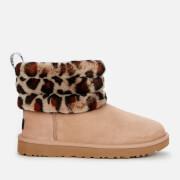 UGG Women's Fluff Mini Quilted Leopard Sheepskin Boots - Amphora