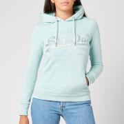 Superdry Women's Vl Tonal Embossed Glitter Hoodie - Mint Snowy