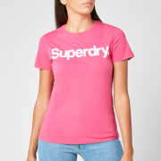 Superdry Women's Cl Flock T-Shirt - Hot Pink