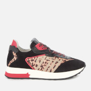 Ash Women's Tiger Suede/Nylon Running Style Trainers - Black/Red/Leopard