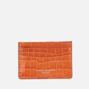 Aspinal of London Women's Slim Credit Card Case Deep Shine Small Croc - Marmalade