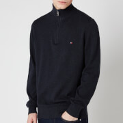 Tommy Hilfiger Men's Pima Cotton Cashmere Zip Mockneck Jumper - Black Heather
