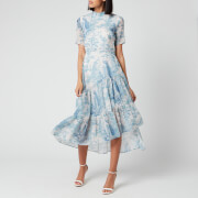 Hope & Ivy Women's The Jacinta Backless Peacock Dress - Blue Floral