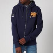 Superdry Men's Vintage Label Embossed Zip Hoodie - Atlantic Navy