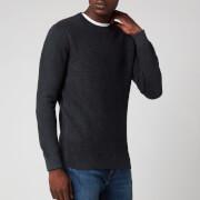 Superdry Men's Academy Dyed Texture Crewneck Jumper - Washed Carbon Black