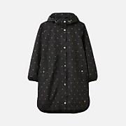 Joules Women's Rainwell Print Waterproof Raincoat - Black Gold Bee