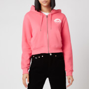 Tommy Jeans Women's TJW Cropped Logo Zip Thru Hoodie - Glamour Pink
