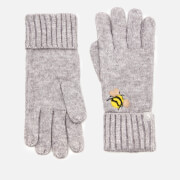 Joules Women's Stafford Gloves - Grey Embroidered Bee