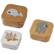 Done by Deer Snack Box Set of 3 - Sea Friends - Mustard/Grey
