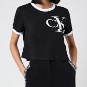 Calvin Klein Jeans Women's Distorted Ck Pocket Ringer T-Shirt - CK Black/White