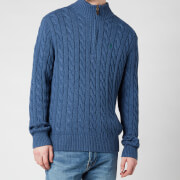 Polo Ralph Lauren Men's Cable Knit Half Zip Jumper - Derby Blue Heather