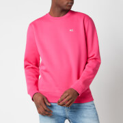 Tommy Jeans Men's Regular Fit Fleece Crewneck Sweatshirt - Bright Cerise Pink