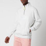 Tommy Jeans Men's Tonal Corporation Logo Zip Mock Neck Sweatshirt - Silver Grey HTR