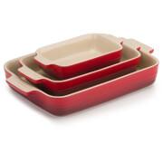 Le Creuset Stoneware 3 Piece Rectangular Dish Set - Cerise