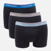 Tommy Hilfiger Men's 3 Pack Trunks with Contrast Waistband - Electric Blue/Sublunar/Moon Blue