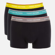 Tommy Hilfiger Men's 3 Pack Trunks with Contrast Waistband - TH Yellow/Sublunar/Teal