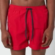 Tommy Hilfiger Men's Small Flag Medium Length Drawstring Swimshorts - Primary Red