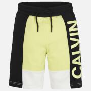 Calvin Klein Jeans Boy's Colour Block Logo Jogger Shorts - Yellow Lime
