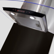 CDA ASG62CBL Curved Glass Splashback - 60 x 75cm - Black