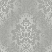 Grandeco Fabric Damask Silver Wallpaper