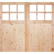 External Glazed Unfinished Redwood 12 Lite Rebated Garage Door Pair - 1981 x 2135mm