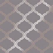 Holden Decor Glistening Geo Trellis Geometric Smooth Metallic Dark Grey and Rose Gold Wallpaper