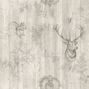 Holden Decor Stag Wood Effect Smooth Metallic Beige Wallpaper