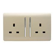 Trendi Switch 2 Gang 13 amp long switched Plug Socket in Screwless Gold