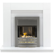Malmo Fireplace Suite In Pure White With Helios Fire