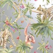 Holden Decor Jungle Animals Smooth Metallic Silver Background Wallpaper