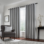 Peacock Blue Hotel Collection Roma Lined Curtains 66 x 72 - Silver