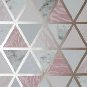 Arthouse Marble Geo Pink Multi Wallpaper