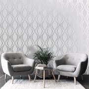 Belgravia Decor Amelie Geometric Wallpaper - Grey