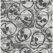 Fresco Skull Wall Grey Wallpaper